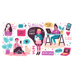 Blogging and vlogging set cute funny girls or vector