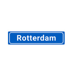 Blue and white city sign of rotterdam vector
