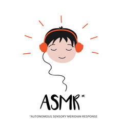 Boy enjoying sounds triggers asmr content vector