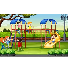 Boys and girls playing at the playground vector image