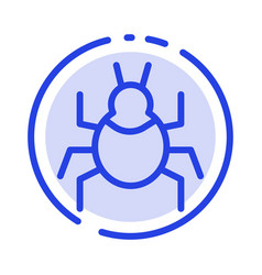 Bug nature virus indian blue dotted line line icon vector