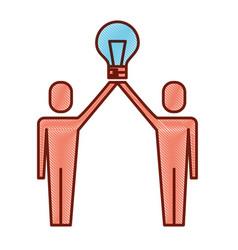 businessmen holding bulb idea solution innovation vector image