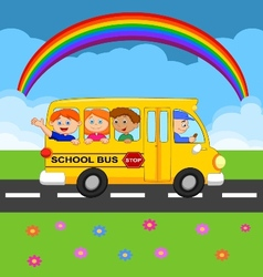 Cartoon school Bus With Happy Children vector