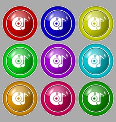 CD or DVD icon sign Symbol on nine round colourful vector image