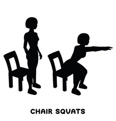 Chair squats squat sport exersice silhouettes of vector