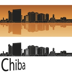 Chiba skyline in orange vector image