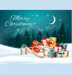 Christmas background with presents on a sleigh vector image