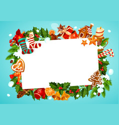 christmas frame with fir branches and holly plant vector image