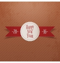 Christmas or New Year Label and red Ribbon vector image