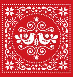 Christmas scandinavian folk art design vector