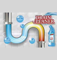 Cleaning pipes ads placard bathroom piping vector