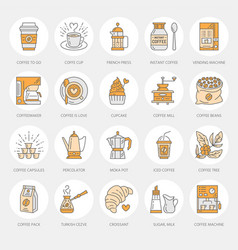 coffee making equipment line icons tools vector image