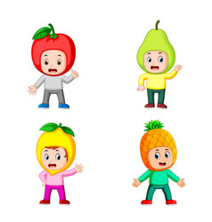 collection of the boy children using the fruit vector image