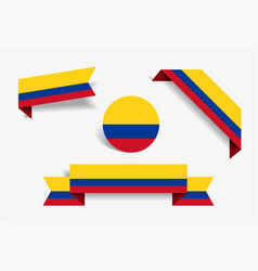 Colombian flag stickers and labels vector