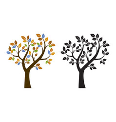 Color and black tree vector