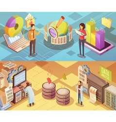 Data Analysis Isometric Banners vector