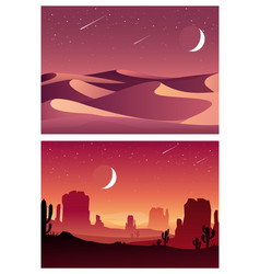 desert sunset and night landscape vector image