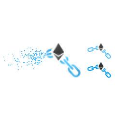Dissipated dot halftone ethereum broken chain icon vector