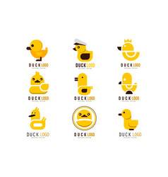 duck logo set design elements with yellow toy vector image