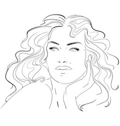 fashion and beauty face hand draw fashion vector image