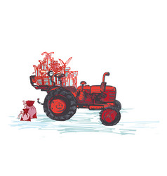 Festive new year 2019 card red tractor with vector