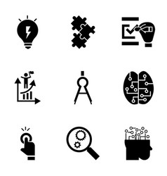 Find solution icon set simple style vector
