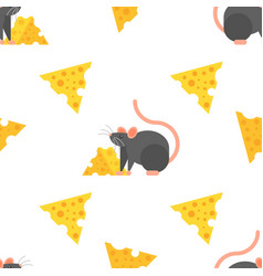 Flat style seamless pattern with mouse and cheese vector