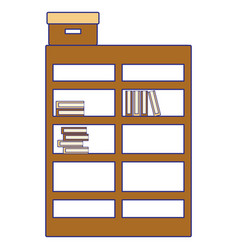 full color bookcase with books inside and box vector image
