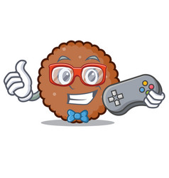 Gamer chocolate biscuit mascot cartoon vector