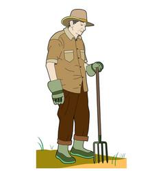 Gardener with a fork vector