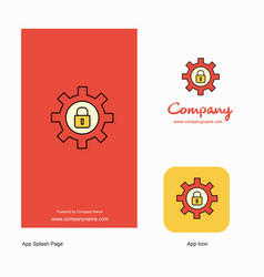 gear locked company logo app icon and splash page vector image