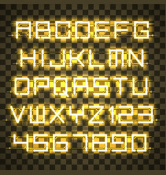 Glowing yellow neon alphabet vector