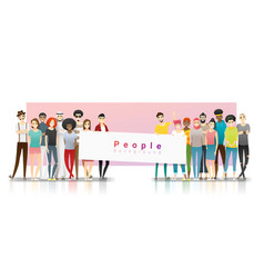 group multi ethnic people holding empty banner vector image