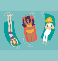 Group women with different body shapes vector