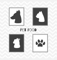 hand drawn silhouettes pet food shop posters vector image