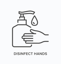 Hand gel flat line icon outline vector