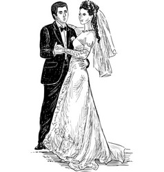 happy newlyweds vector image