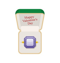 Happy Valentines day Amethyst ring in box Jewelry vector