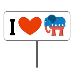 I love Republicans Symbol of elephant and heart vector image