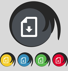 Import download file icon sign Symbol on five vector