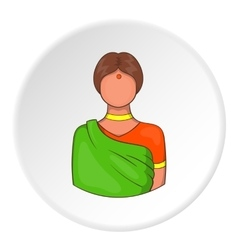 Indian female icon cartoon style vector