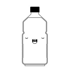 kawaii water bottle in black silhouette vector image