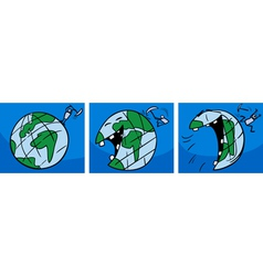 laughing earth planet comic story vector image