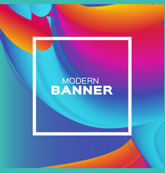 Liquid poster bright colorful wave smoke shapes vector