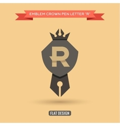Logo emblem crown pen the letter R education vector