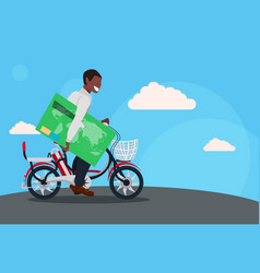 Man cycling bicycle holding credit card with chip vector
