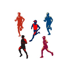 Marathon runner retro collection vector