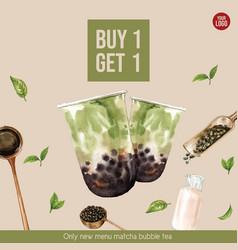 Matcha bubble milk tea set promotion ad flyer vector