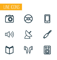 multimedia icons line style set with textbook vector image
