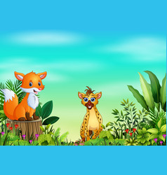nature scene with a fox sitting on tree stump and vector image